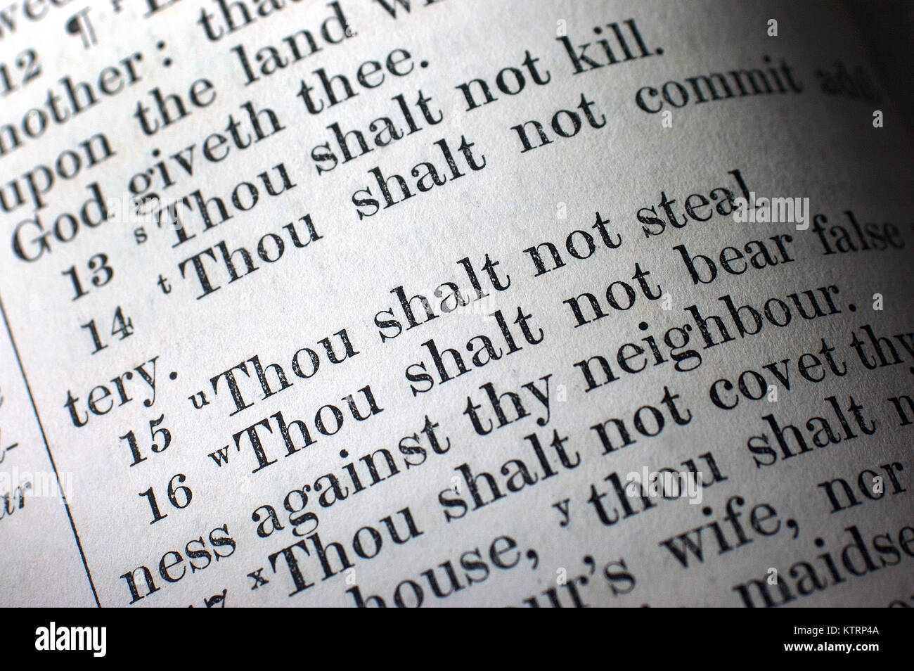 Highlighted text of the Ten Commandments in the Holy Bible Stock Photo