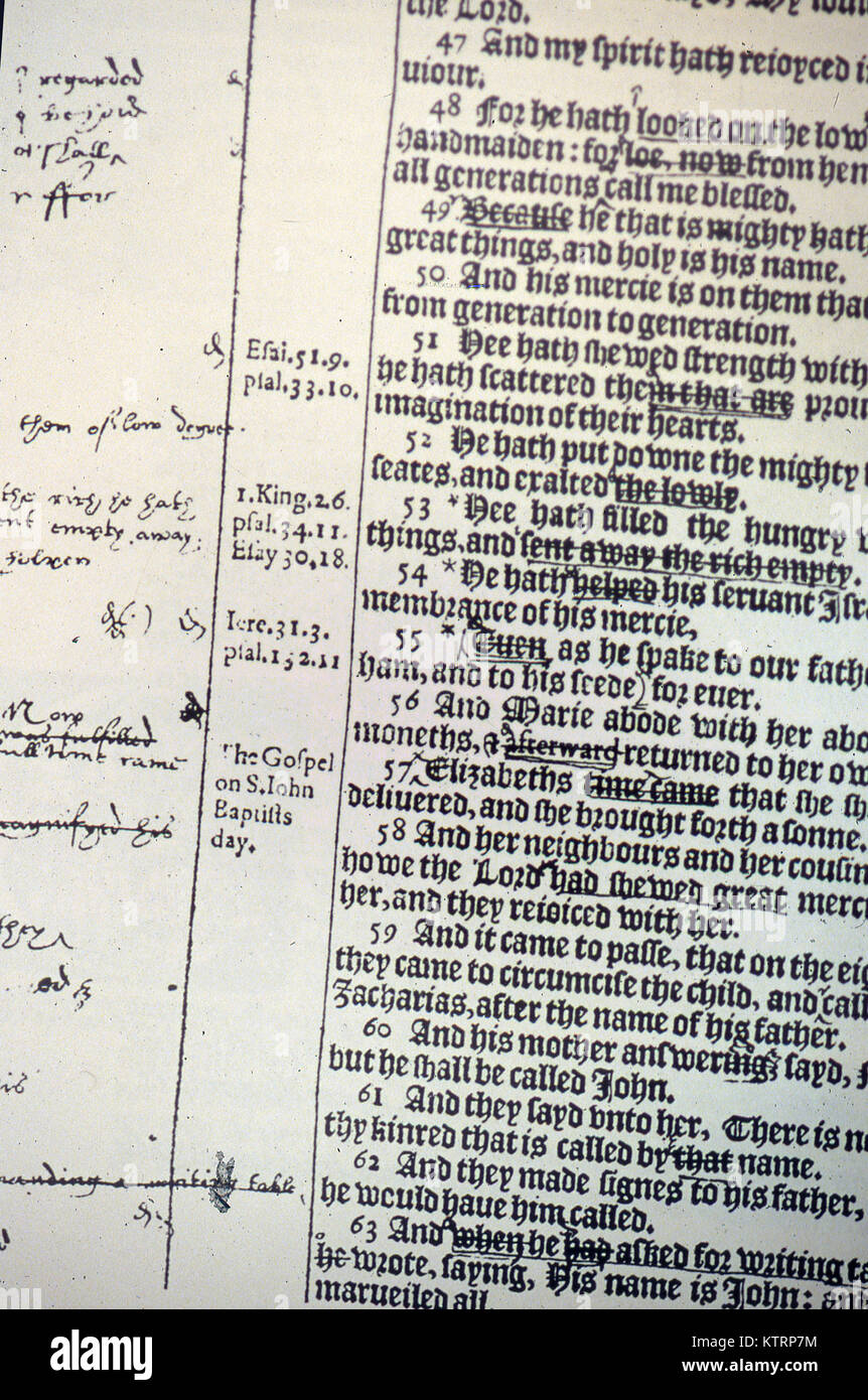 translator's notes in the Bishop's Bible, Luke Chapter 2 - Stock Image