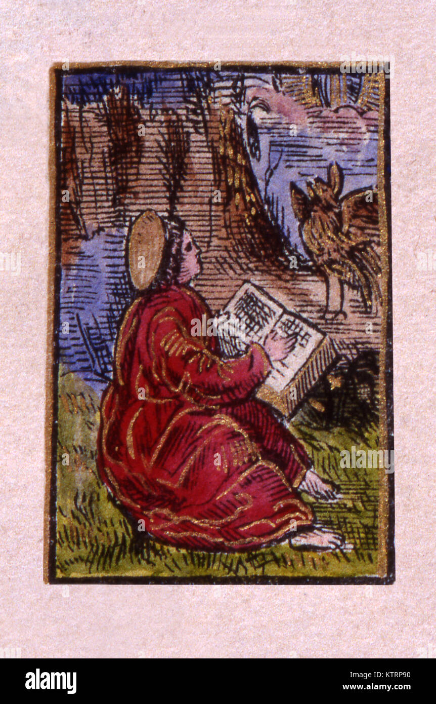 Illustration of a scribe from William Tyndale's 1525 New Testament Stock Photo