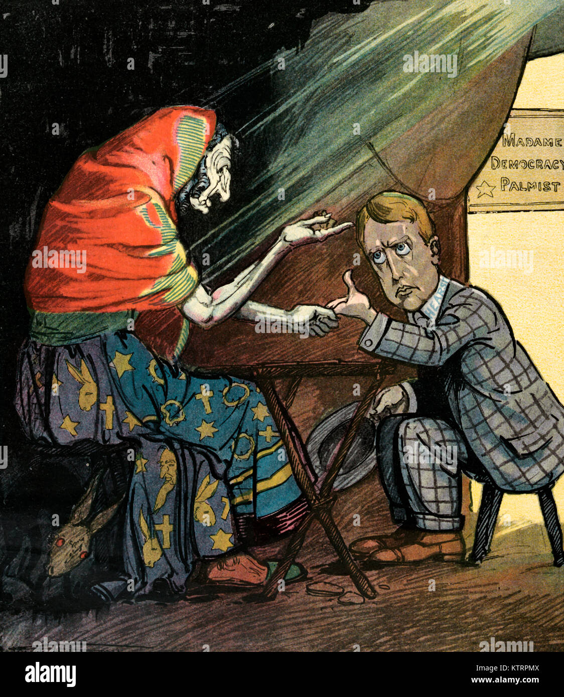 Reading his future -  Illustration shows an old woman, known as 'Madame Democracy Palmist', reading William - Stock Image