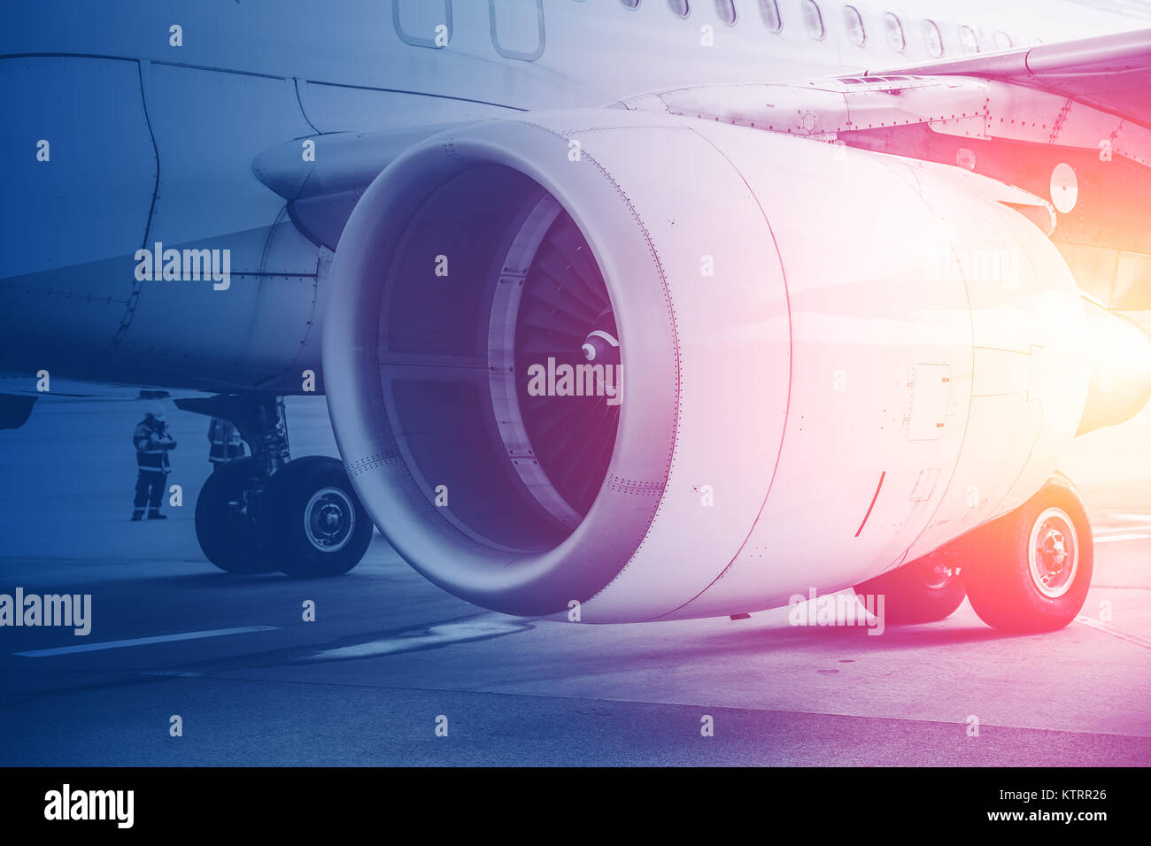 Jet turbine engine Flight for future of Aviation in Commercial aircraft background concept. - Stock Image