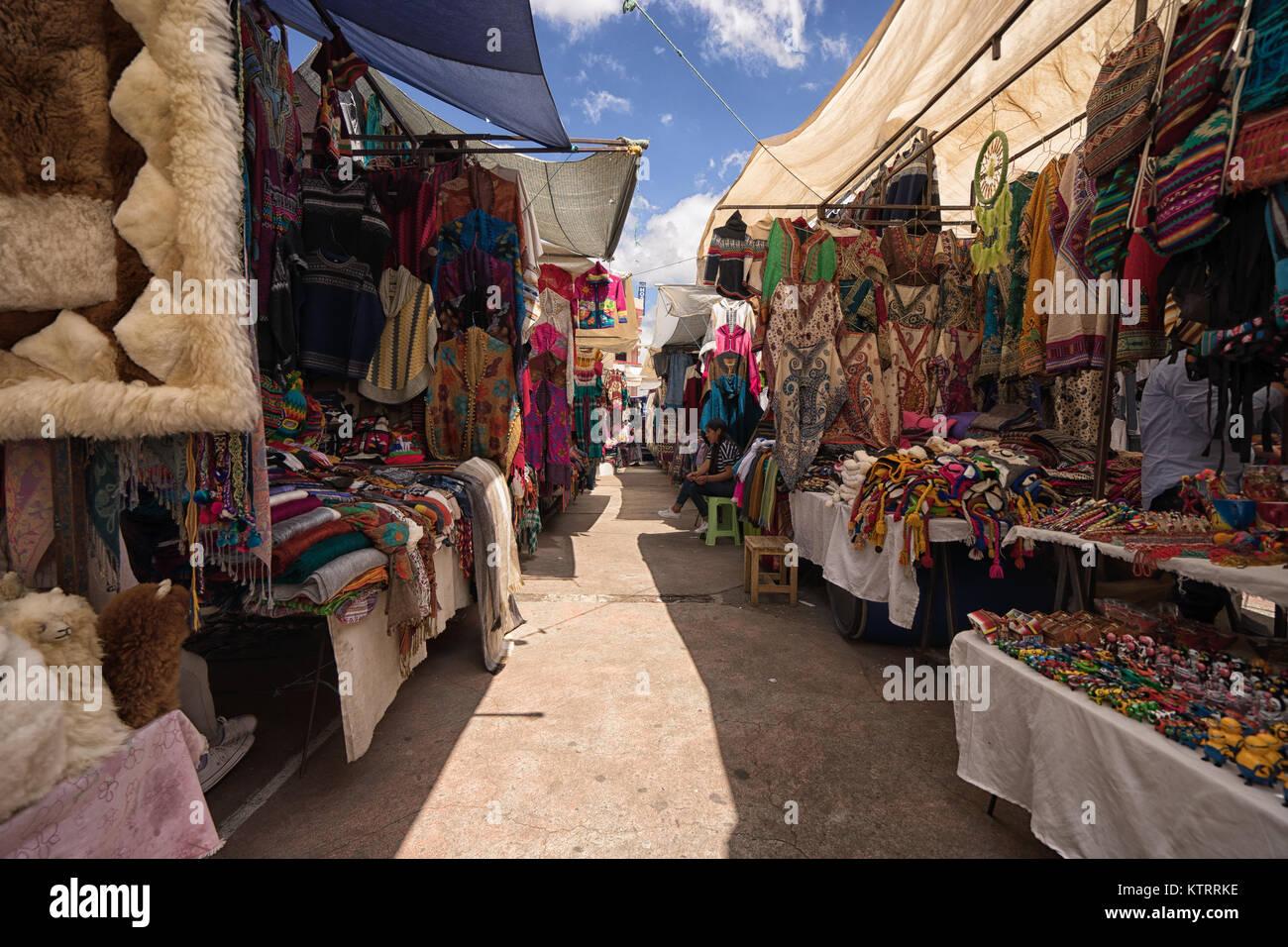 Otavalo, Ecuador-December 23, 2017: closeup of an indigenous mask for sale in the artisan market - Stock Image