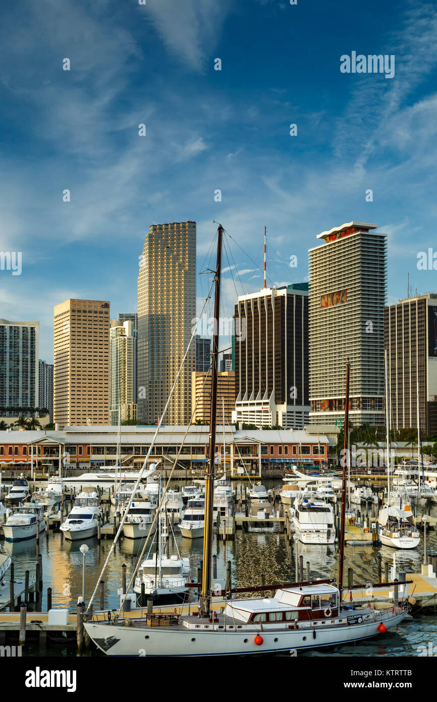 Boats in Marina at Bayfront Marketplace and skyscrapers, Miami, Florida USA Stock Photo