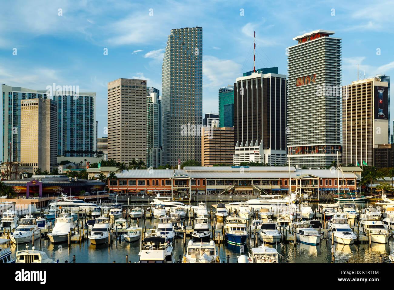 Boats in Marina at Bayfront Marketplace and skyscrapers, Miami, Florida USA Stock Photo