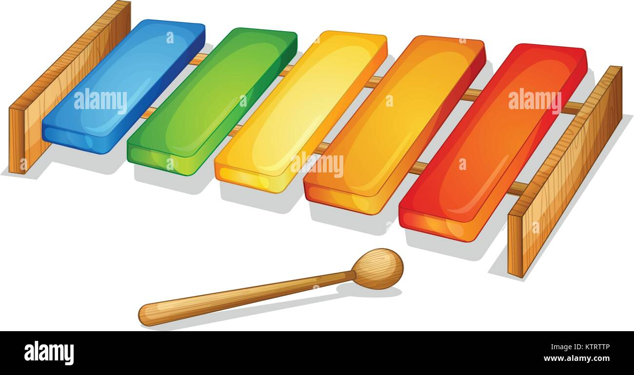 illustration of xylophone on a white background stock