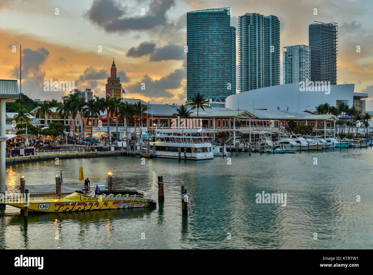 Marina at Bayfront Marketplace and skyscrapers, Miami, Florida USA Stock Photo