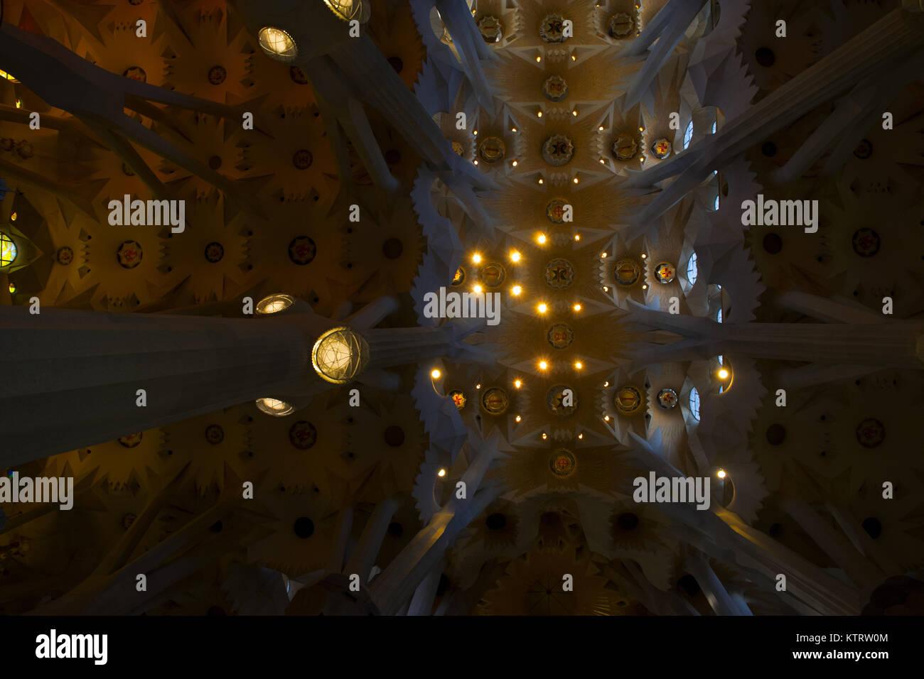 Impressing ceiling of Sagrada Familia - Stock Image