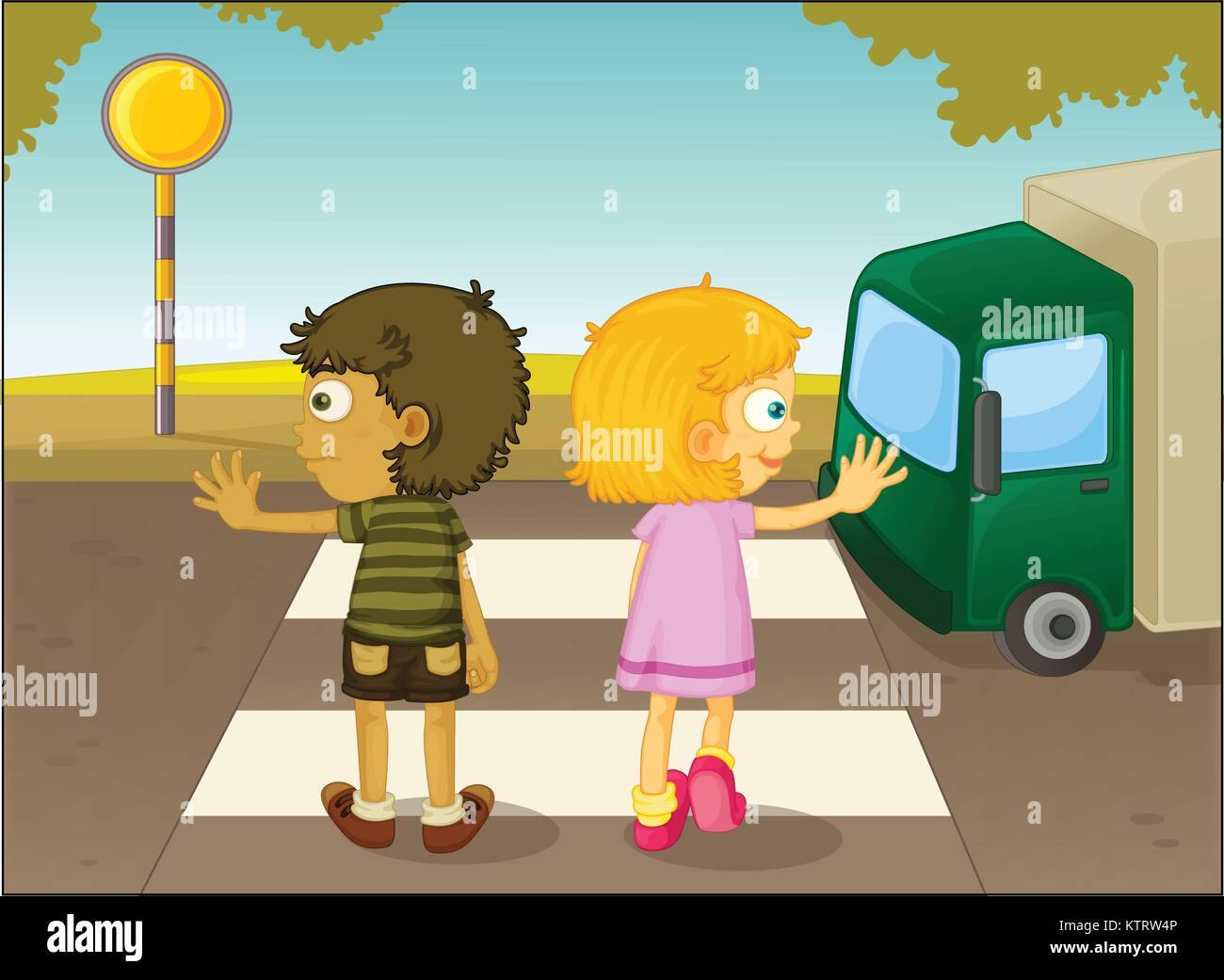 Illustration of boy and girl crossing the street - Stock Vector