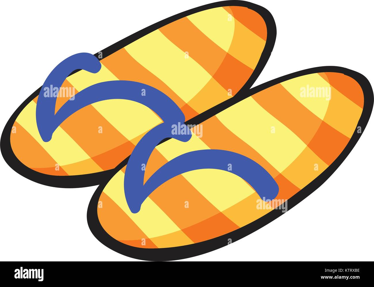 illustration of  yellow stiped slippers on a white background Stock Vector