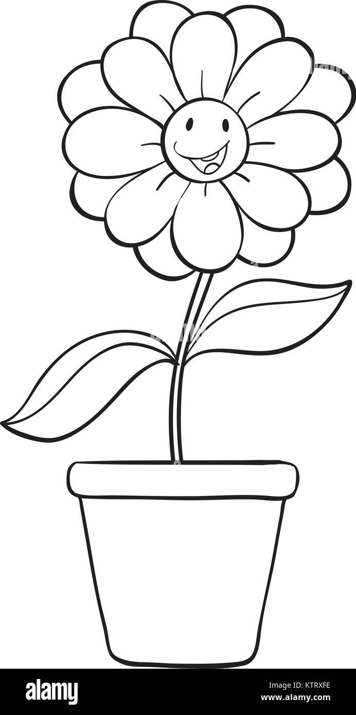 Illustration Cartoon Flower Pot Black And White Stock Photos
