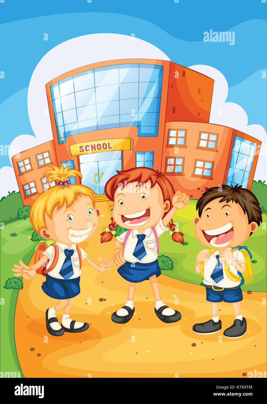 illustration of a kids infront of school building - Stock Vector