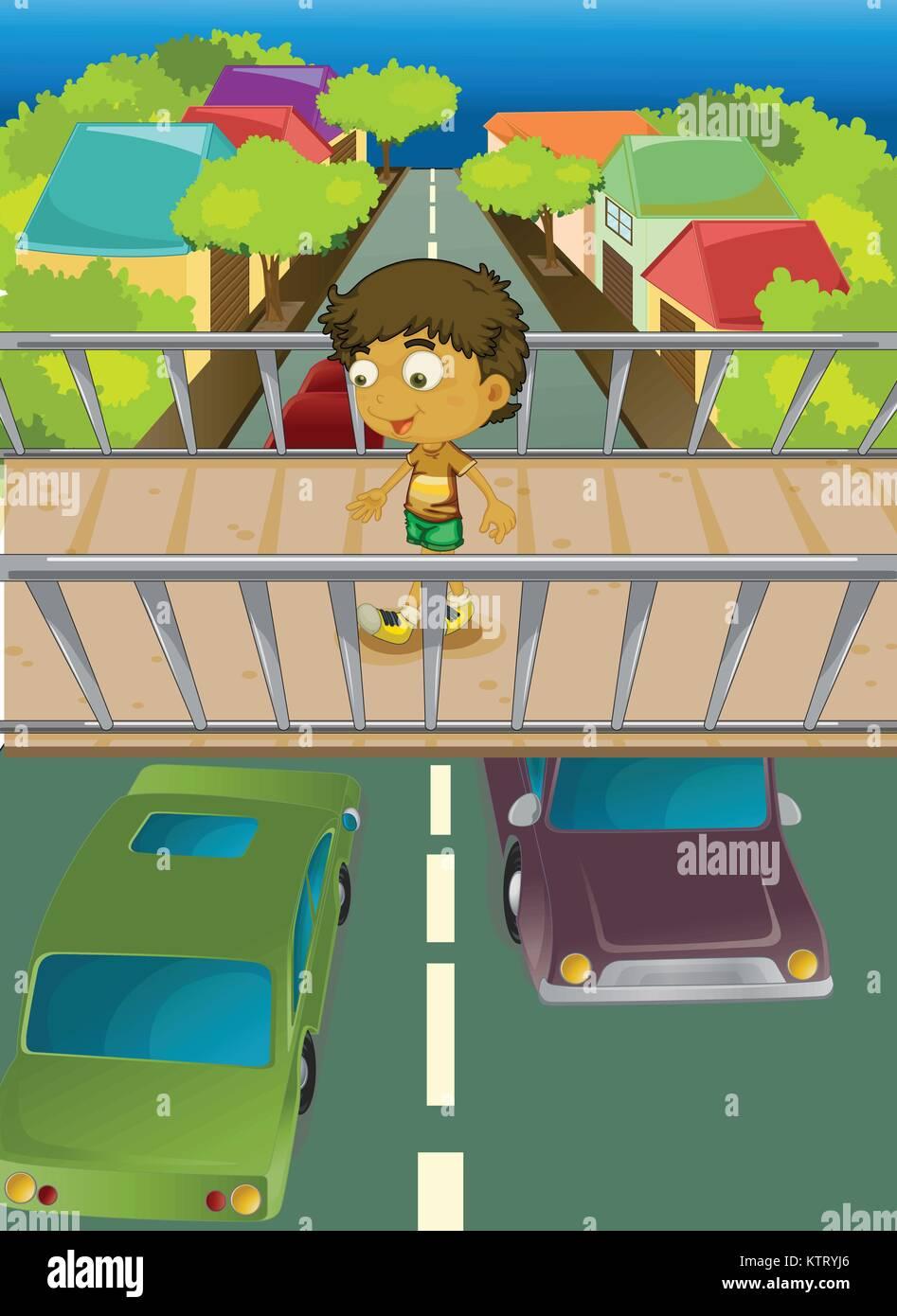 Illustration of boy using overpass - Stock Vector
