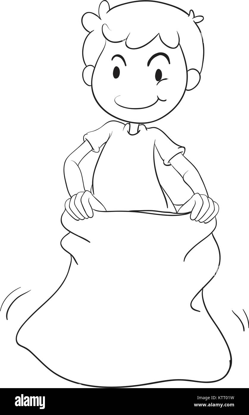 illustration of a boy in a sack on white background - Stock Vector