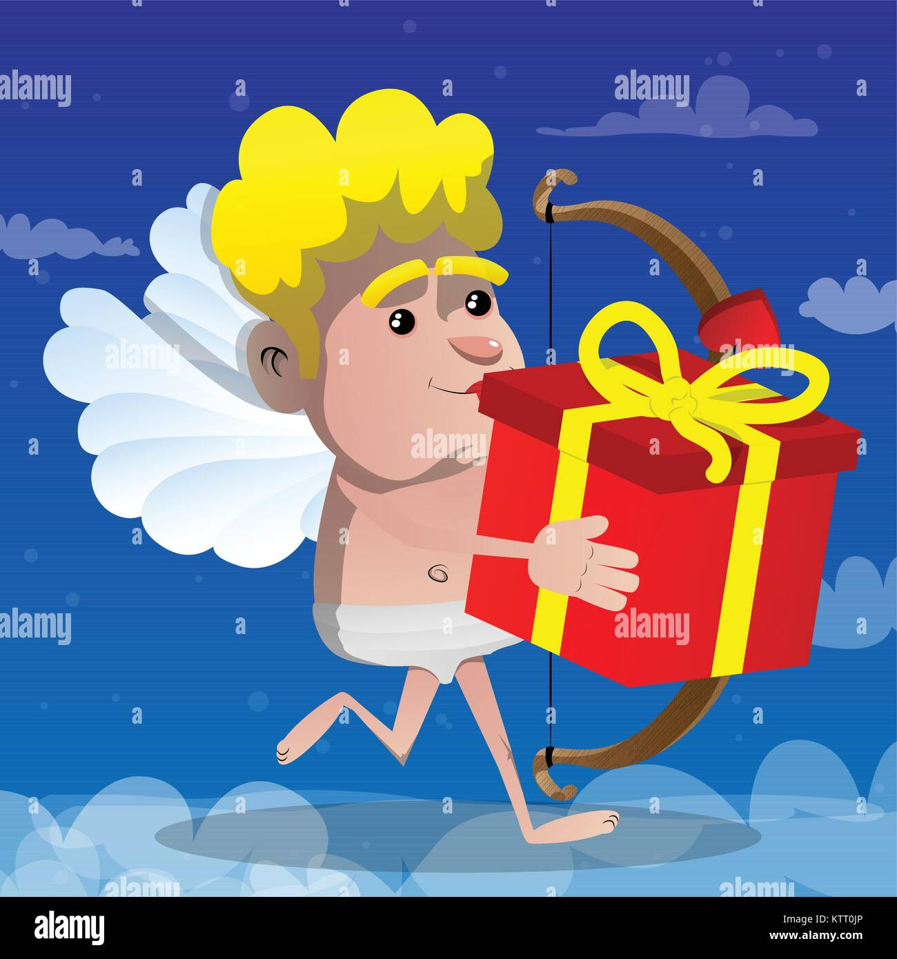 Cupid running with gift box, with bow and arrow in his hand. Vector cartoon character illustration. - Stock Image