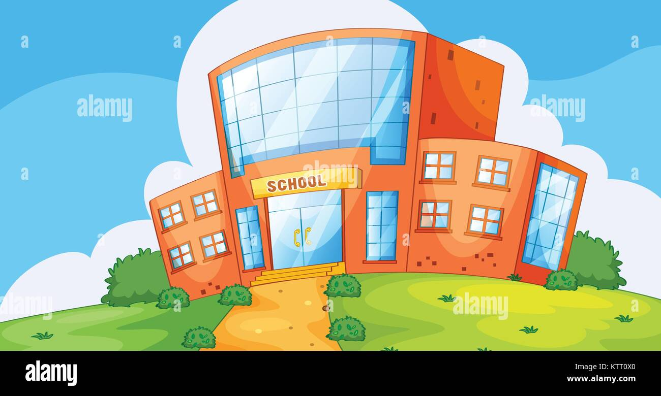 Illustration of the front of a school - Stock Vector