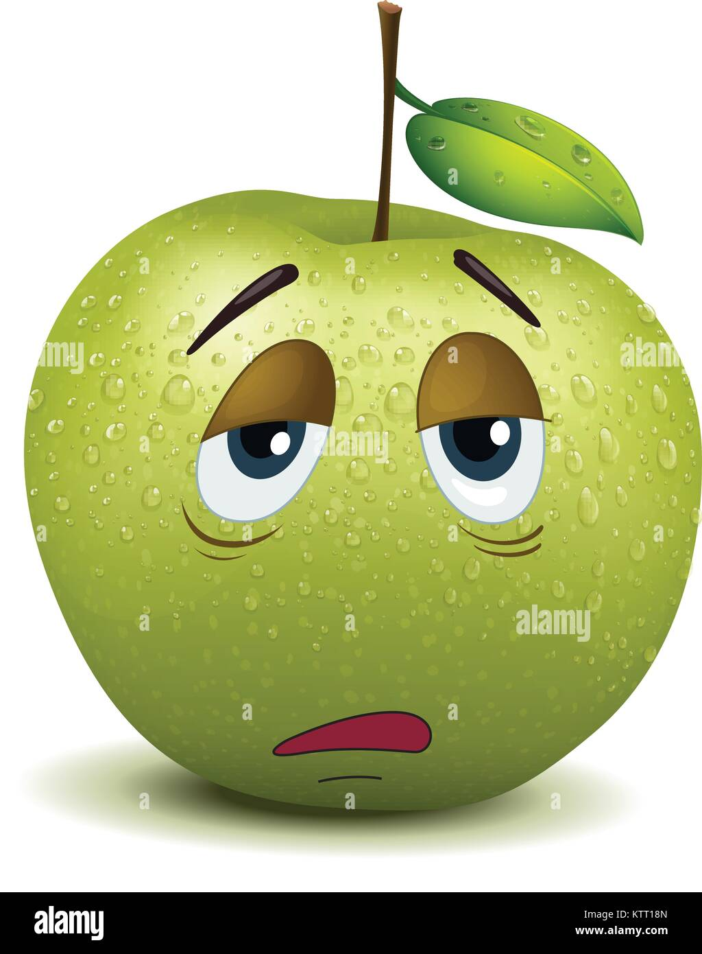 illustration of dull apple smiley on a white Stock Vector