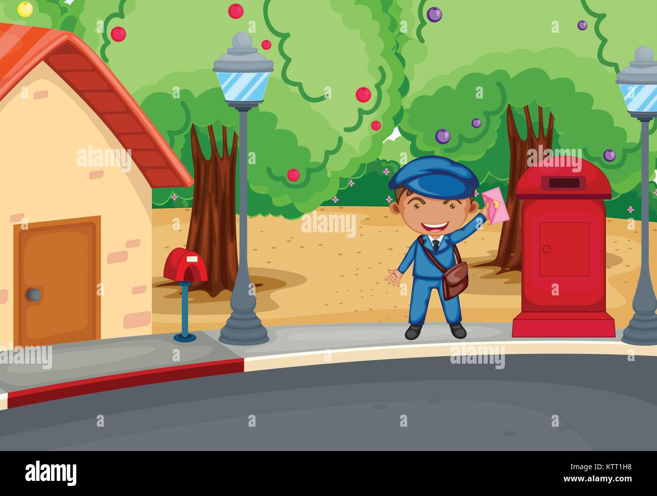 Postman collecting letters - Stock Image