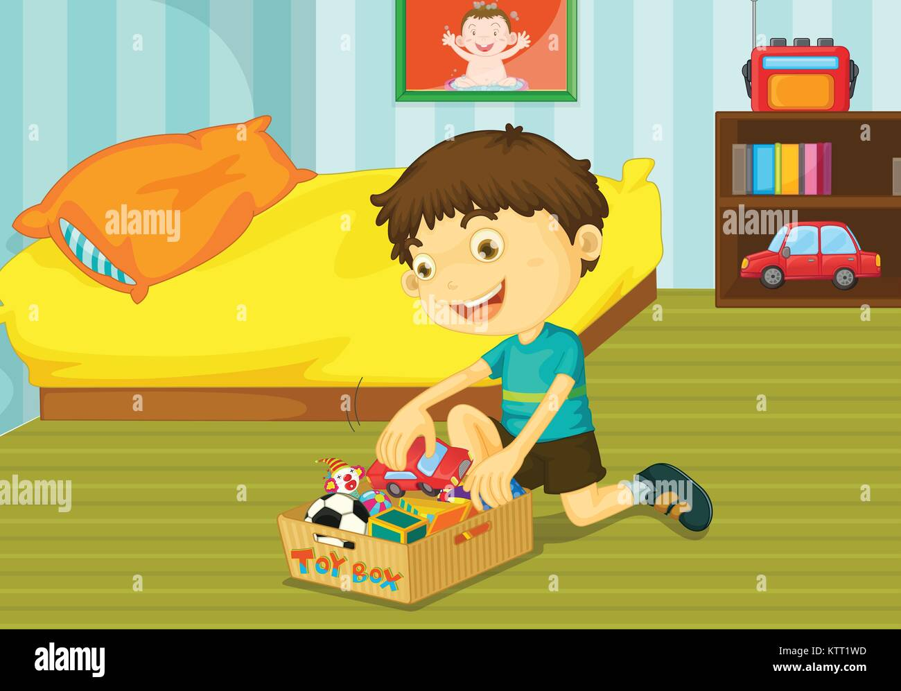 Illustration of helping at home concept - Stock Vector