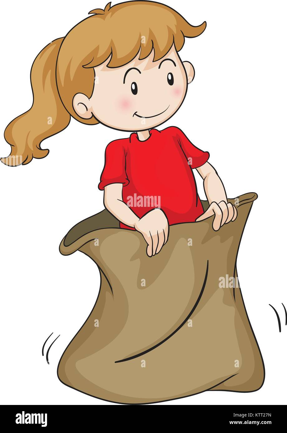 detailed illustration of a girl in a sack on white - Stock Vector