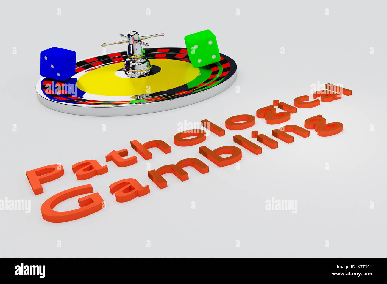 3D illustration of Pathological Gambling title written in embossed letters, with two dice. - Stock Image
