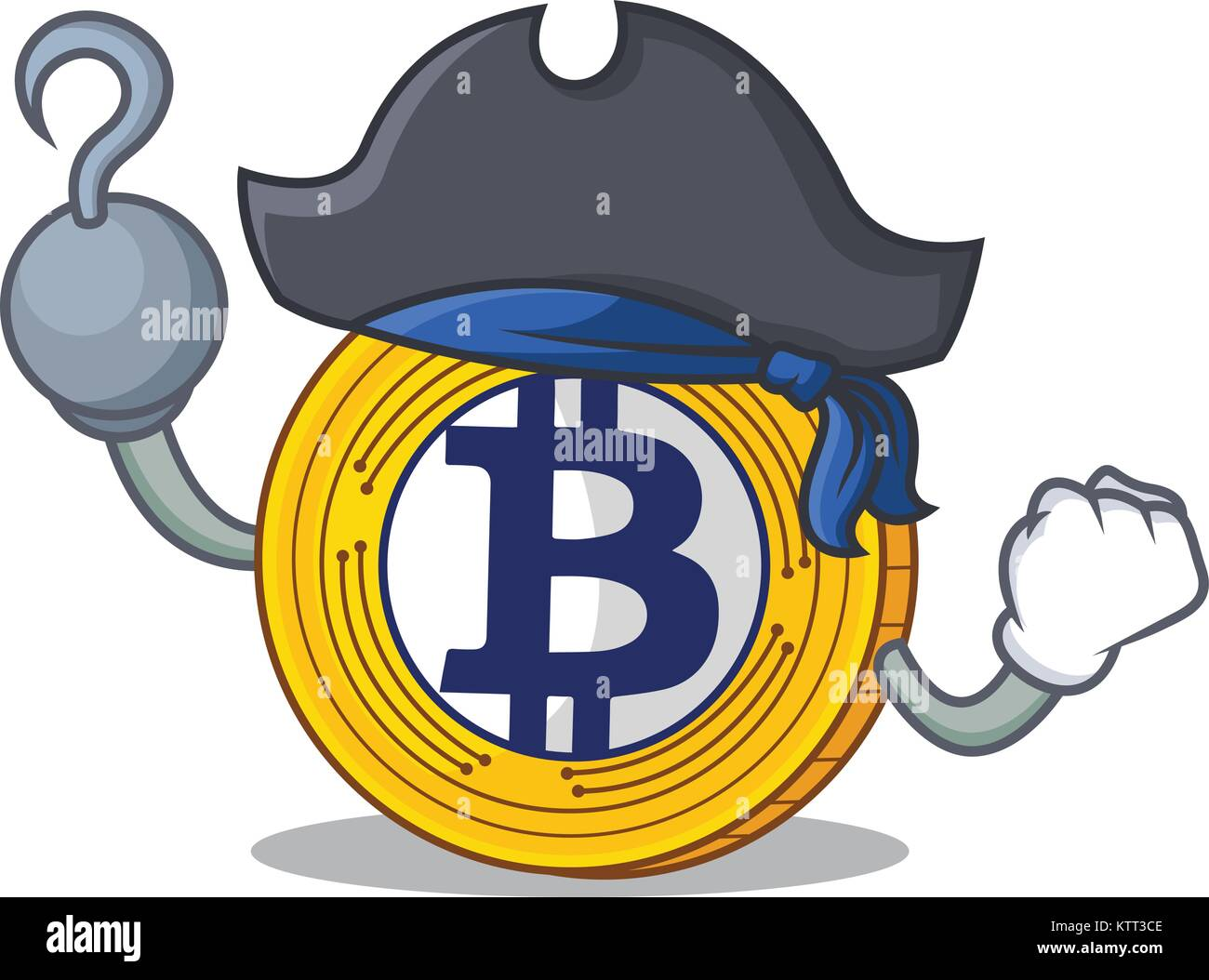 Pirate Bitcoin Gold character cartoon - Stock Image
