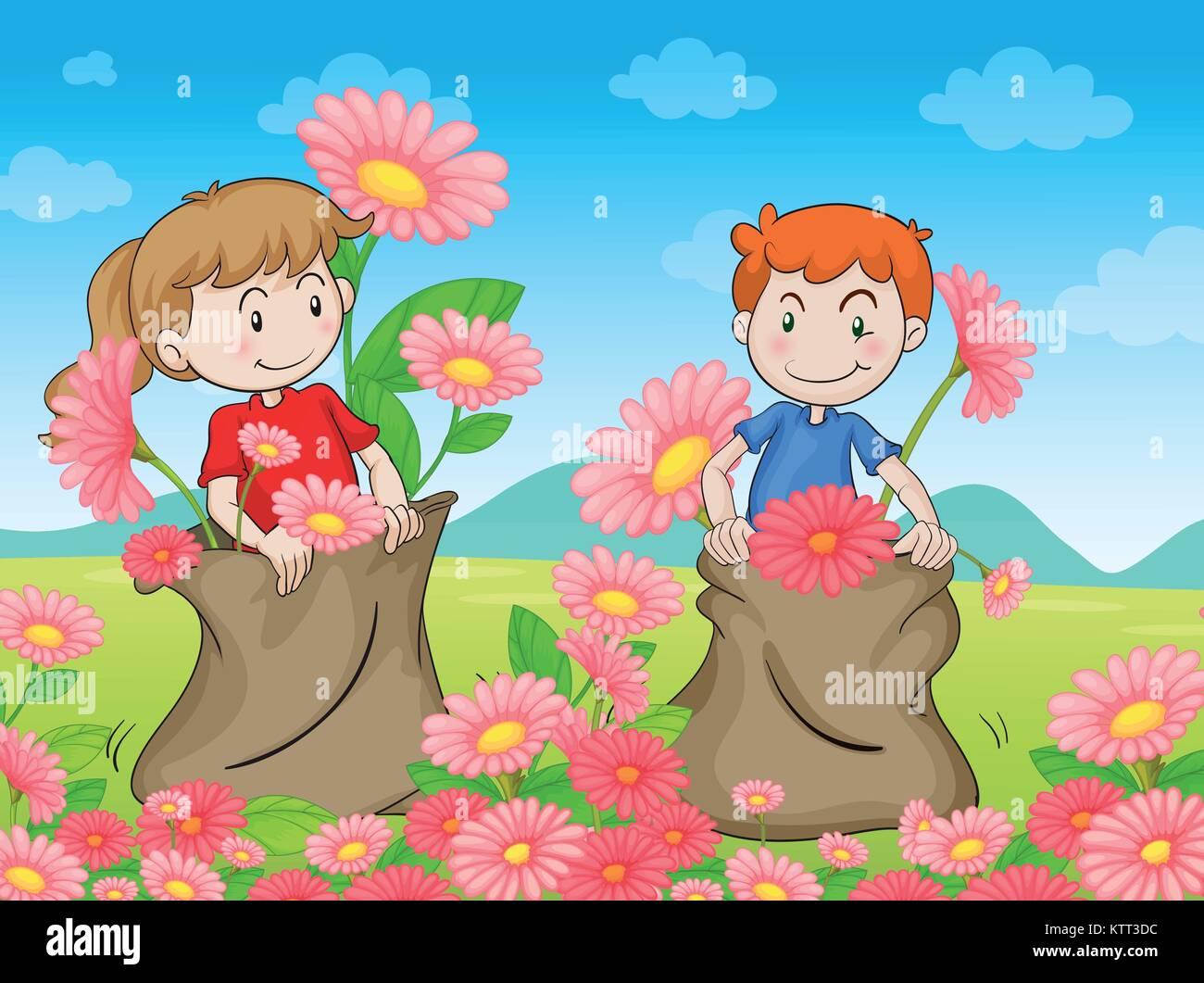 illustration of kids and flowers in a beautiful nature - Stock Vector