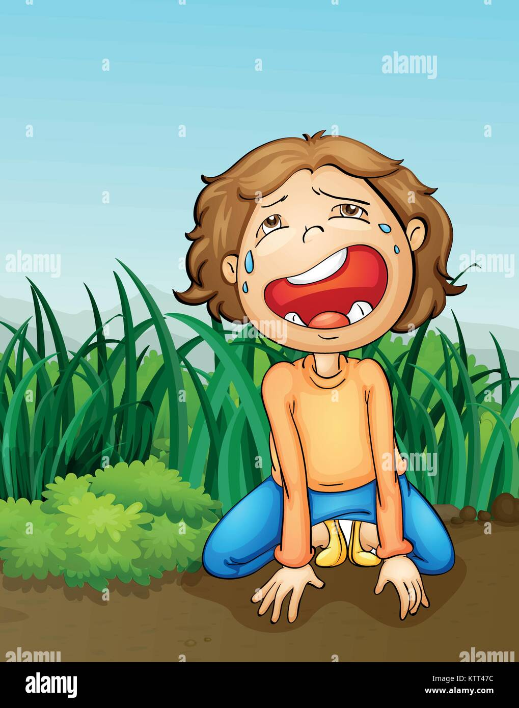illustration of a outdoor boy crying alone - Stock Vector