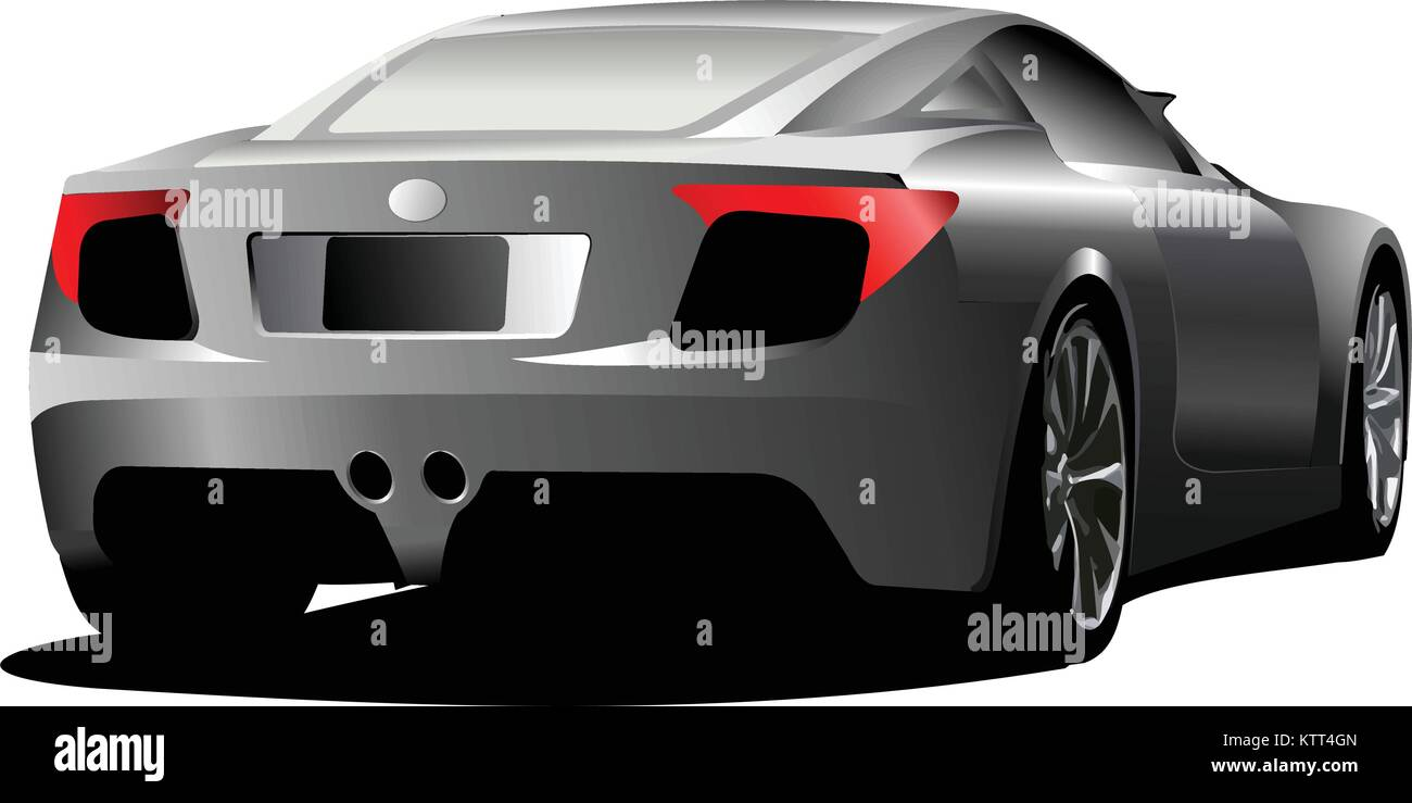 Car sedan on the road. Rear side. Vector illustration - Stock Vector