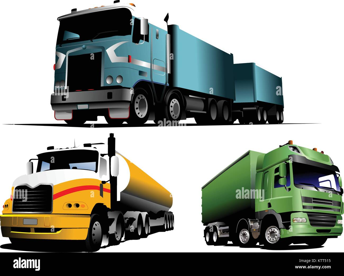 Green, blue and yellow  trucks on the road. Vector illustration - Stock Vector