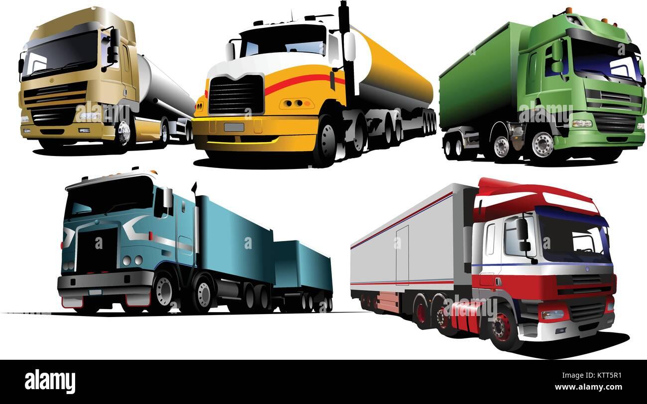 Five trucks on the road. Vector illustration - Stock Vector