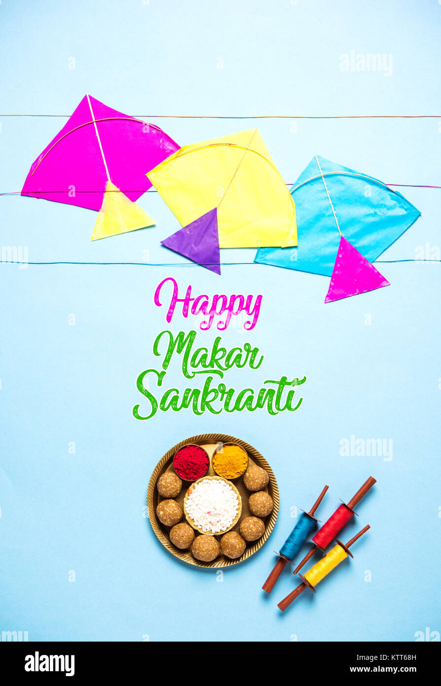 Happy makar sankranti greeting card tilgul or til ladoo in a bowl happy makar sankranti greeting card tilgul or til ladoo in a bowl or plate with haldi kumkum and flowers with fikri reelchakri spool with colourf m4hsunfo