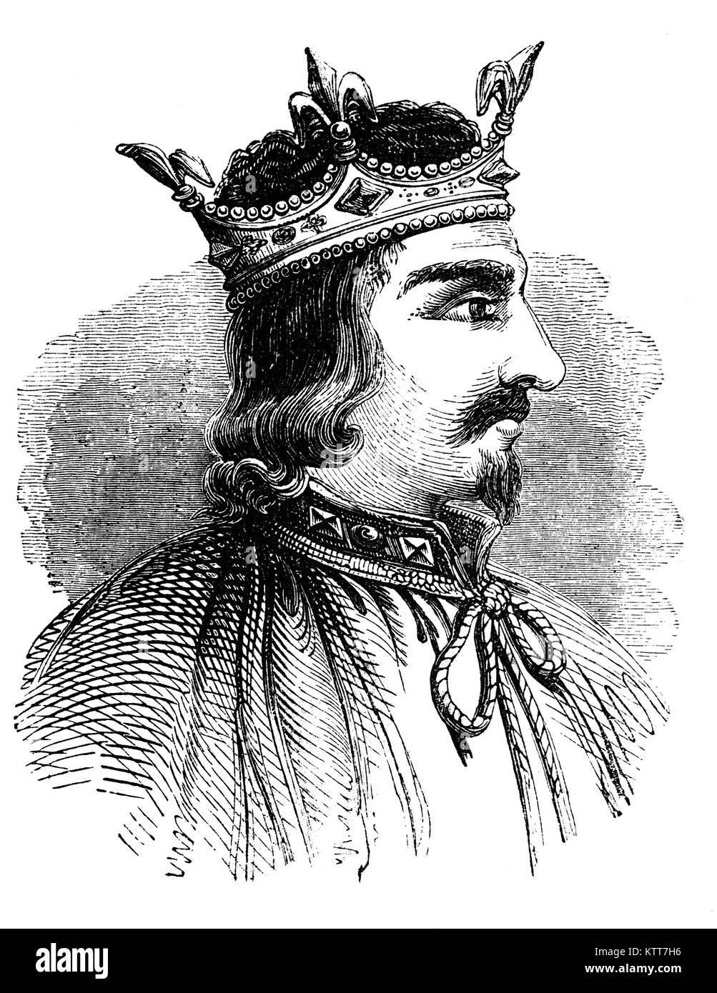 Stephen (1092/6 – 1154), often referred to as Stephen of Blois, was King of England from 1135 to his death, as well - Stock Image
