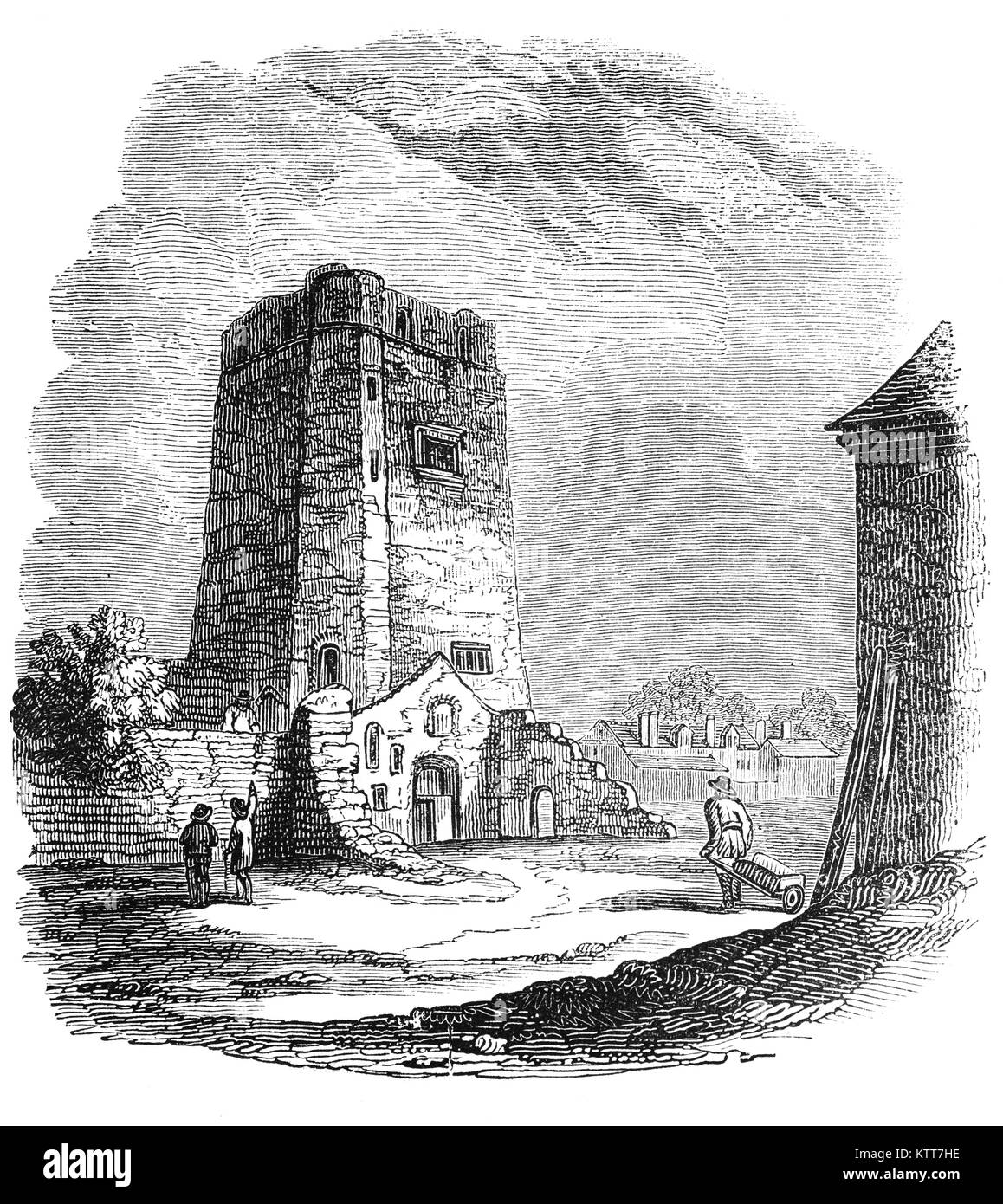 A tower of Oxford Castle, an 11th Century Norman medieval castle on the western side of central Oxford. It played - Stock Image