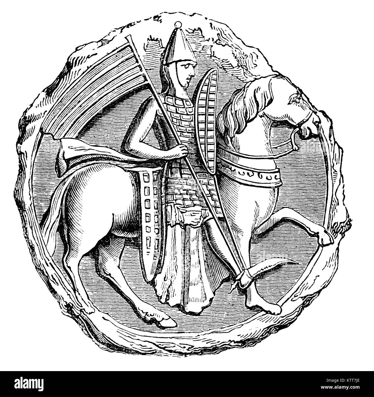 An early 13th Century Medieval soldier on horseback wearing tegulated armour, composed of small plates, as of horn - Stock Image