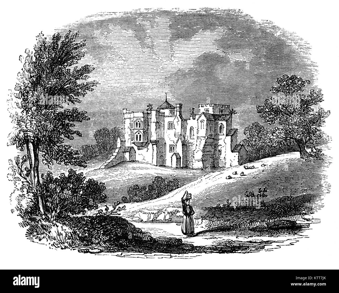 Woodstock Palace was a royal residence in the English town of Woodstock, Oxfordshire. Henry I of England built a - Stock Image