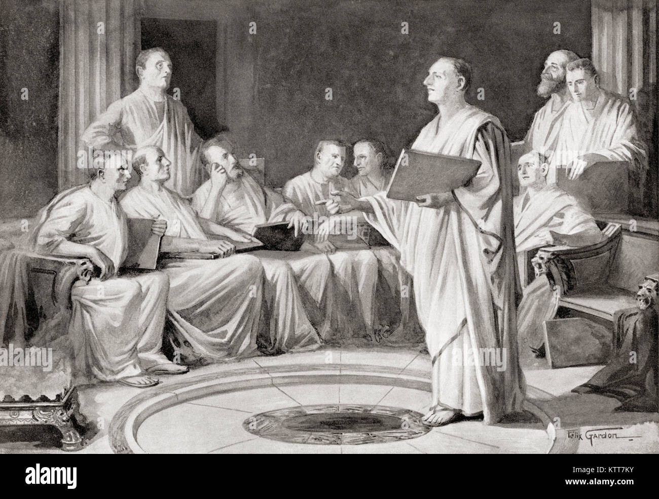 The Decemvirs framing the Twelve Tables.  The Law of the Twelve Tables was the legislation that was the foundation - Stock Image