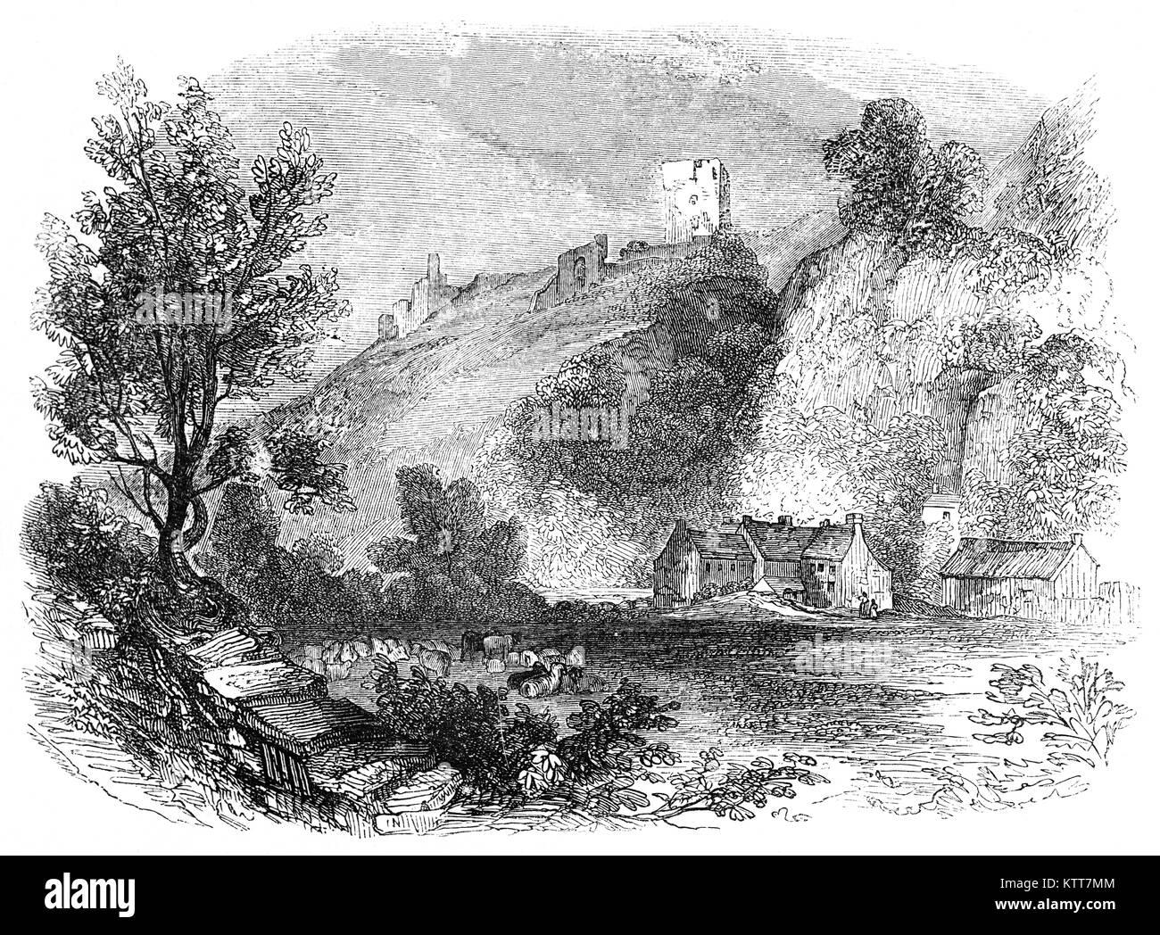 Peveril Castle (also Castleton Castle or Peak Castle) is a ruined 11th-century castle overlooking the village of - Stock Image