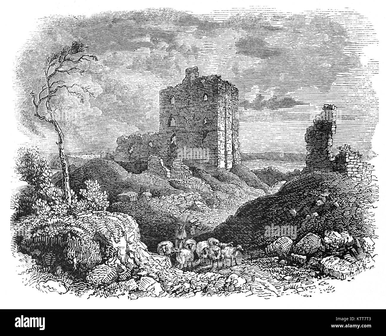 Norham Castle in Northumberland, overlooks the River Tweed, on the border between England and Scotland. In 1136 - Stock Image
