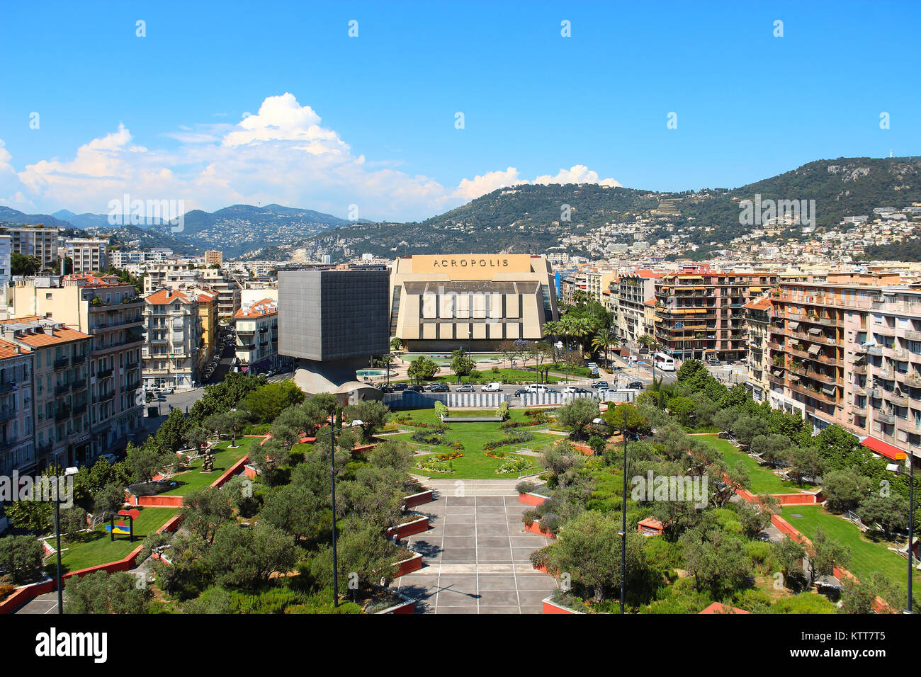 NICE, FRANCE - JUNE 23, 2016: Promenade des Arts and Acropolic center of congresses and exhibitions in downtown Stock Photo