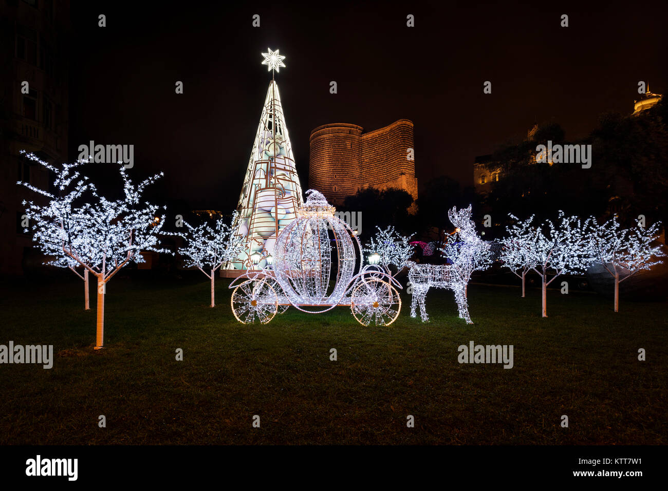Christmas Light at the Old City in Baku - Stock Image