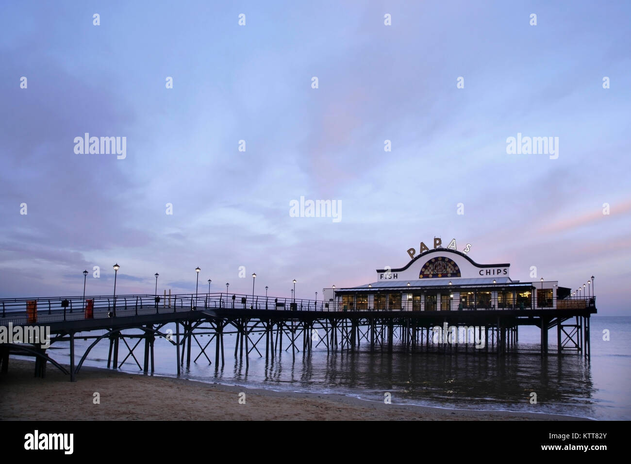 Cleethorpes Pier at twilight, UK. - Stock Image