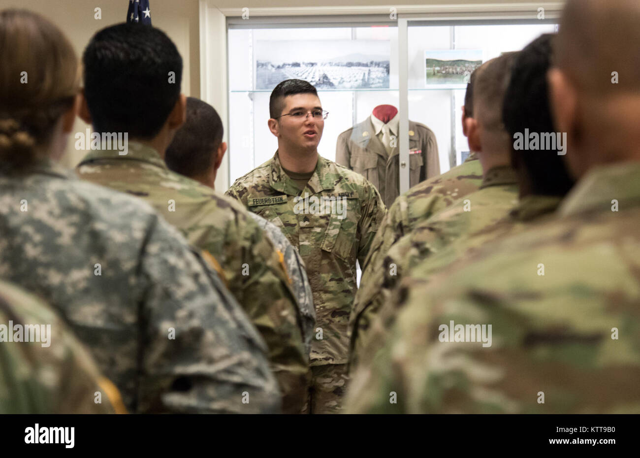 U.S. Army Spc. Max Feuerstein, a paralegal noncommissioned officer assigned to the Headquarters and Supply Company, - Stock Image