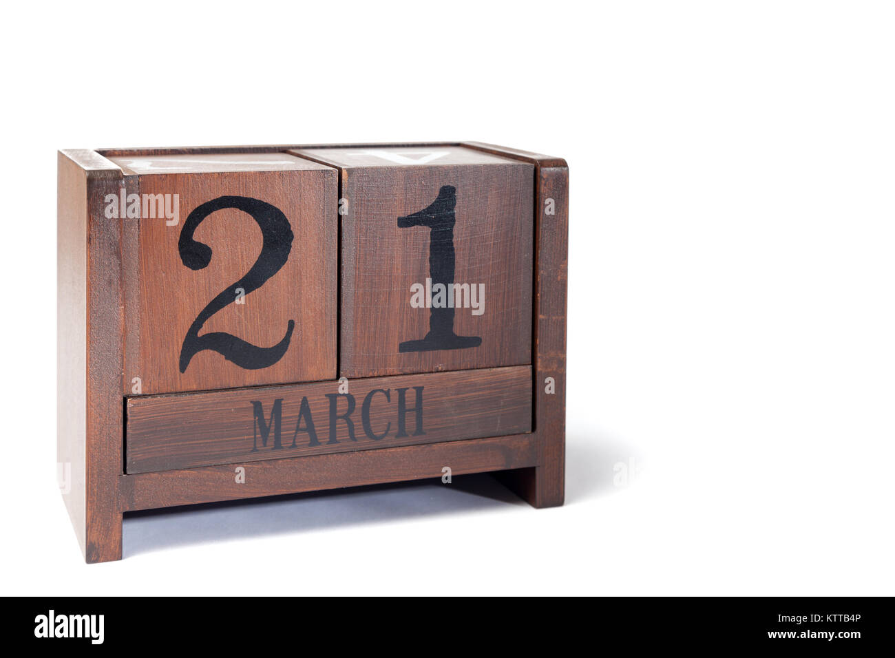 Wooden Perpetual Calendar set to March 21st - Stock Image