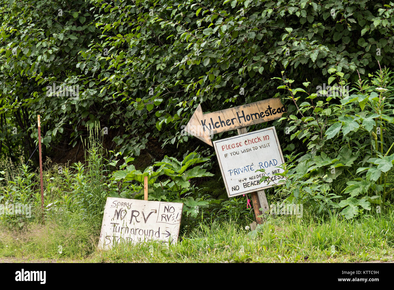 Signs for the Kilcher Homestead in remote Fritz Creek, Alaska. The on