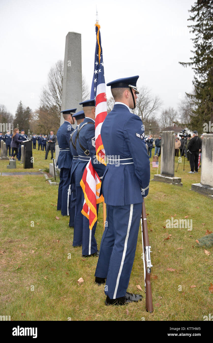 The New York Air National Guard Color Guard marks the 235th birthday of President Martin Van Buren during a wreath laying ceremony at Van Buren's grave site in Kinderhook, New York on Tuesday, December 5th. The annual event recognizes the former President Martin Van Buren, a Columbia County native who died on July 24, 1862 in Kinderhook, N.Y. He was born on December 5, 1782. The United States Military honors former presidents by laying wreaths  presented by the current president at their gravesites on the anniversary of their birth. (New York Army National Guard photo by Capt. Jean Marie Kratz Stock Photo