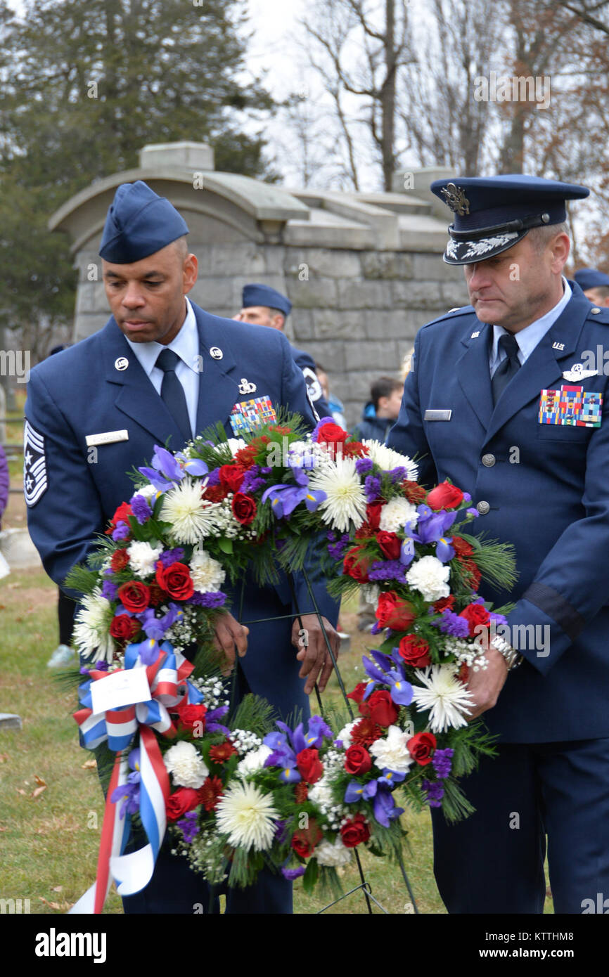 Brig. Gen. Timothy LaBarge, the Chief of Staff for the New York Air National Guard and Command Chief Master Sgt. Denny Richardson of the 109th Airlift Wing, marked the 235th birthday of President Martin Van Buren by laying a wreath at Van Buren's grave site in Kinderhook, New York on Tuesday, December 5th. The annual event recognizes the former President Martin Van Buren, a Columbia County native who died on July 24, 1862 in Kinderhook, N.Y. He was born on Dec. 5, 1782. The United States Military honors former presidents by laying wreaths presented by the current president at their gravesites  Stock Photo