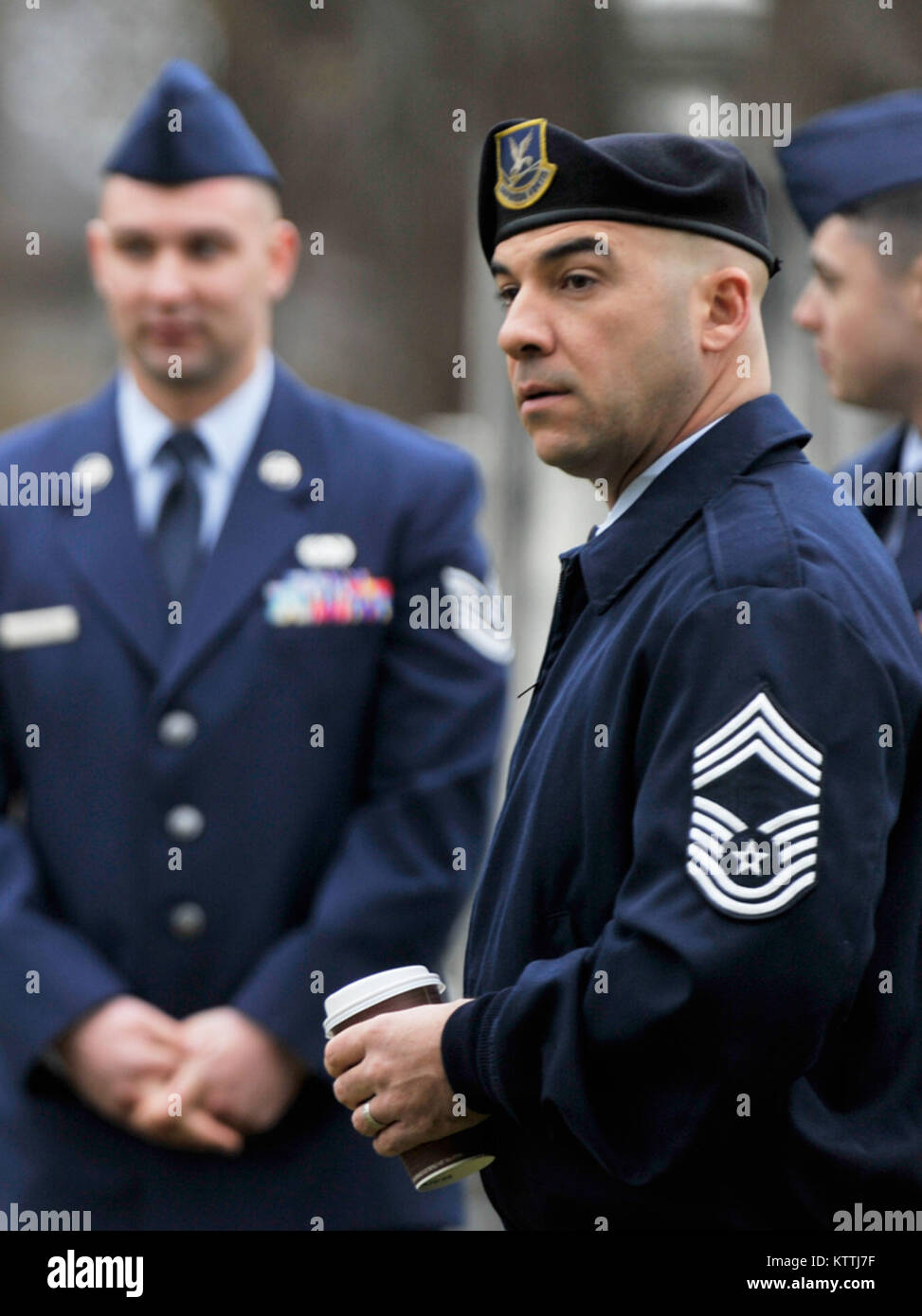 New York Air National Guard Color Guard, Chief Master Sgt. Josh Cawfee, marks the 235th birthday of President Martin Van Buren during a wreath laying ceremony at Van Buren's grave site in Kinderhook, New York on Tuesday, December 5th. The annual event recognizes the former President Martin Van Buren, a Columbia County native who died on July 24, 1862 in Kinderhook, N.Y. He was born on December 5, 1782. The United States Military honors former presidents by laying wreaths presented by the current president at their gravesites on the anniversary of their birth. ( New York Air Guard photo by TSgt Stock Photo
