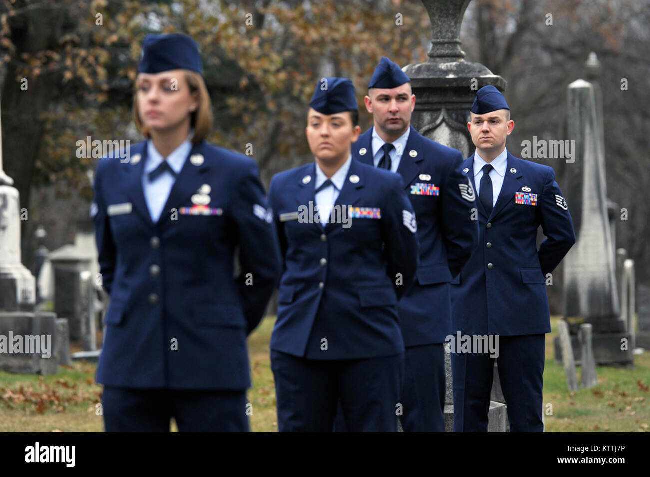 The New York Air National Guard Color Guard marks the 235th birthday of President Martin Van Buren during a wreath laying ceremony at Van Buren's grave site in Kinderhook, New York on Tuesday, December 5th. The annual event recognizes the former President Martin Van Buren, a Columbia County native who died on July 24, 1862 in Kinderhook, N.Y. He was born on December 5, 1782. The United States Military honors former presidents by laying wreaths presented by the current president at their gravesites on the anniversary of their birth. ( New York Air Guard photo by TSgt Stephen Girolami) Stock Photo