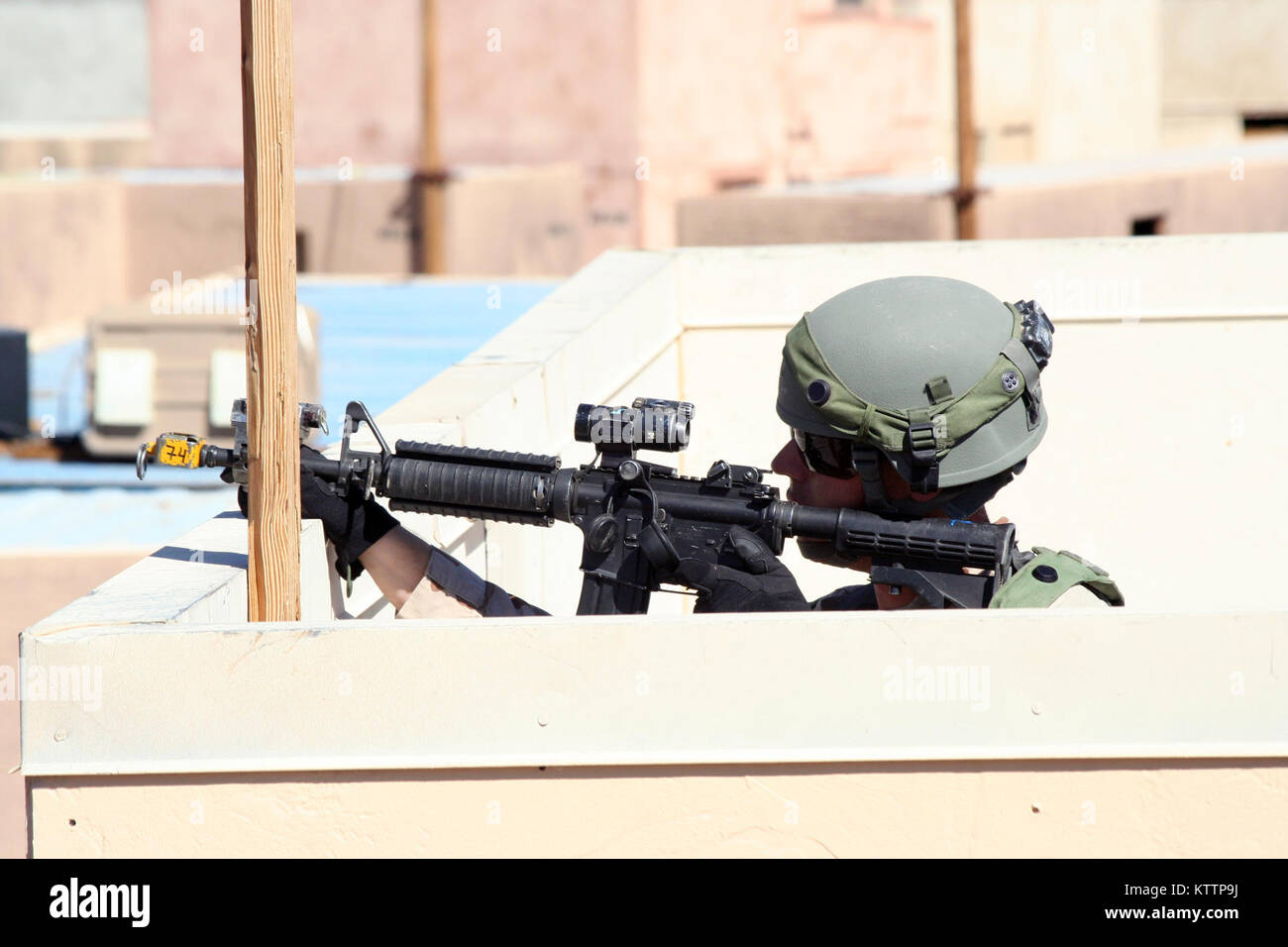 NATIONAL TRAINING CENTER, FORT IRWIN, Calif. – A Soldier from 11th Armored Cavalry Regiment, role-playing as an Stock Photo