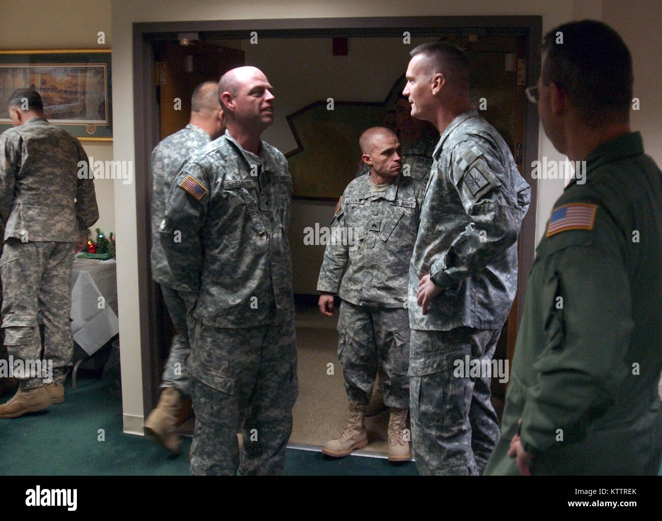 Maj. Gen. Patrick Murphy and Deputy Adjutant General Brig. Gen. Anthony German greet Division of Military and Naval Stock Photo